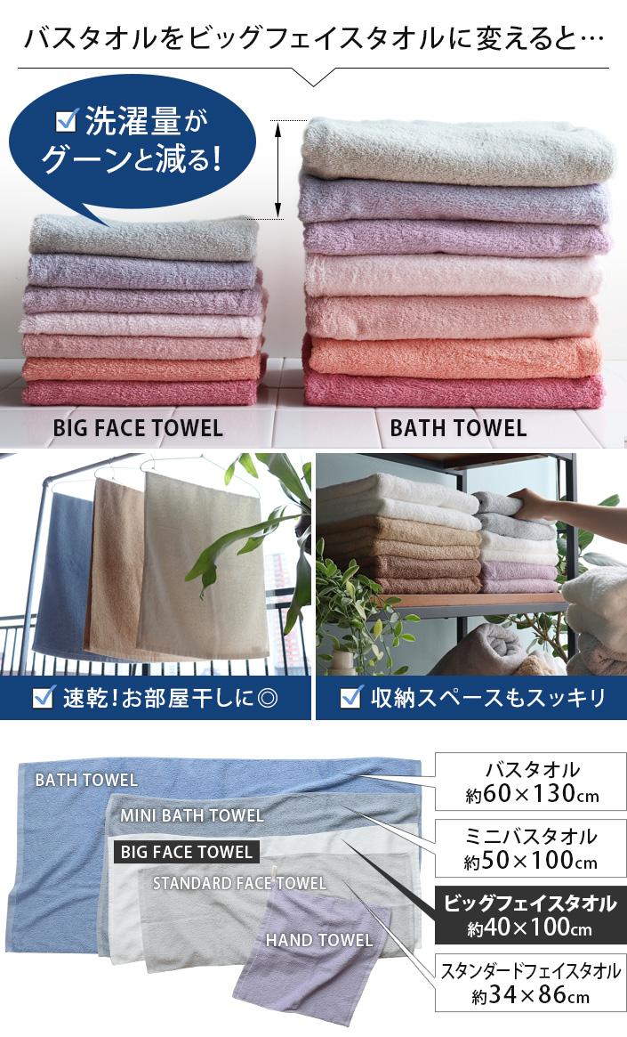 バスタオルをビッグフェイスタオルに変えると洗濯量が減る